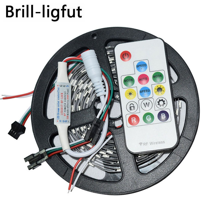 WS2812B <font><b>WS2812</b></font> RGB Led Strip 5m DC5V 30/60leds/m 2812 IC Built-in individually addressable SMD5050 RGB full color led tape lamp image