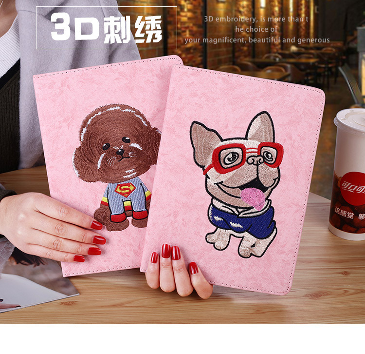 3D Bulldog teacup dog rabbit Teddy Embroidery Soft Stand Cover Smart Sleep Wake up Flip Case for apple iPad 9 7 2017 A1822 in Tablets e Books Case from Computer Office
