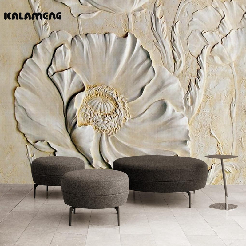 KALAMENG Custom 3D Wallpaper Design Embossed Corn Poppy Photo Kitchen Bedroom Living Room Wall Murals Papel De Parede lolli living poppy seed fitted sheet orchid tigerlily