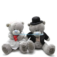 Wholesale 9 8in 2pcs Me To You Bride Groom Bears Bouquet DOLL TOY Plush Stuffed Lovers