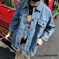 Mujeres de Gran Tamaño de la Chaqueta De Mezclilla Azul Nuevo 2017 Corea Moda para Mujer Loose Fit Batwing Mangas Chaquetas de Jean Envío Libre