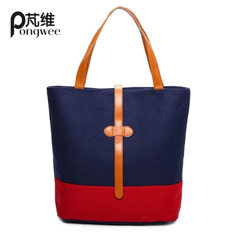 PONGWEE Women Canvas Messenger Bags Handbags High Quality Lady Shoulder Bag Designer Female Bolsos Mujer Canvas
