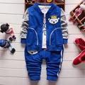 Algodón de primavera otoño moda los bebés recién nacidos ropa fijó capa de la cremallera + camiseta + jeans 3 unids niño juego de los niños de 1033#