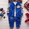 Moda primavera outono algodão do bebê recém-nascido meninos roupas definir zipper casaco + camiseta + calça jeans 3 pcs da criança terno infantil 1033 #