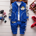 fashion spring autumn cotton  newborn baby boys clothes set zipper coat+t shirt+jeans 3pcs toddler children's suit 1033#
