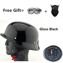 Motorcycle German Style Half Face Helmet Motocross Bike gloss Black