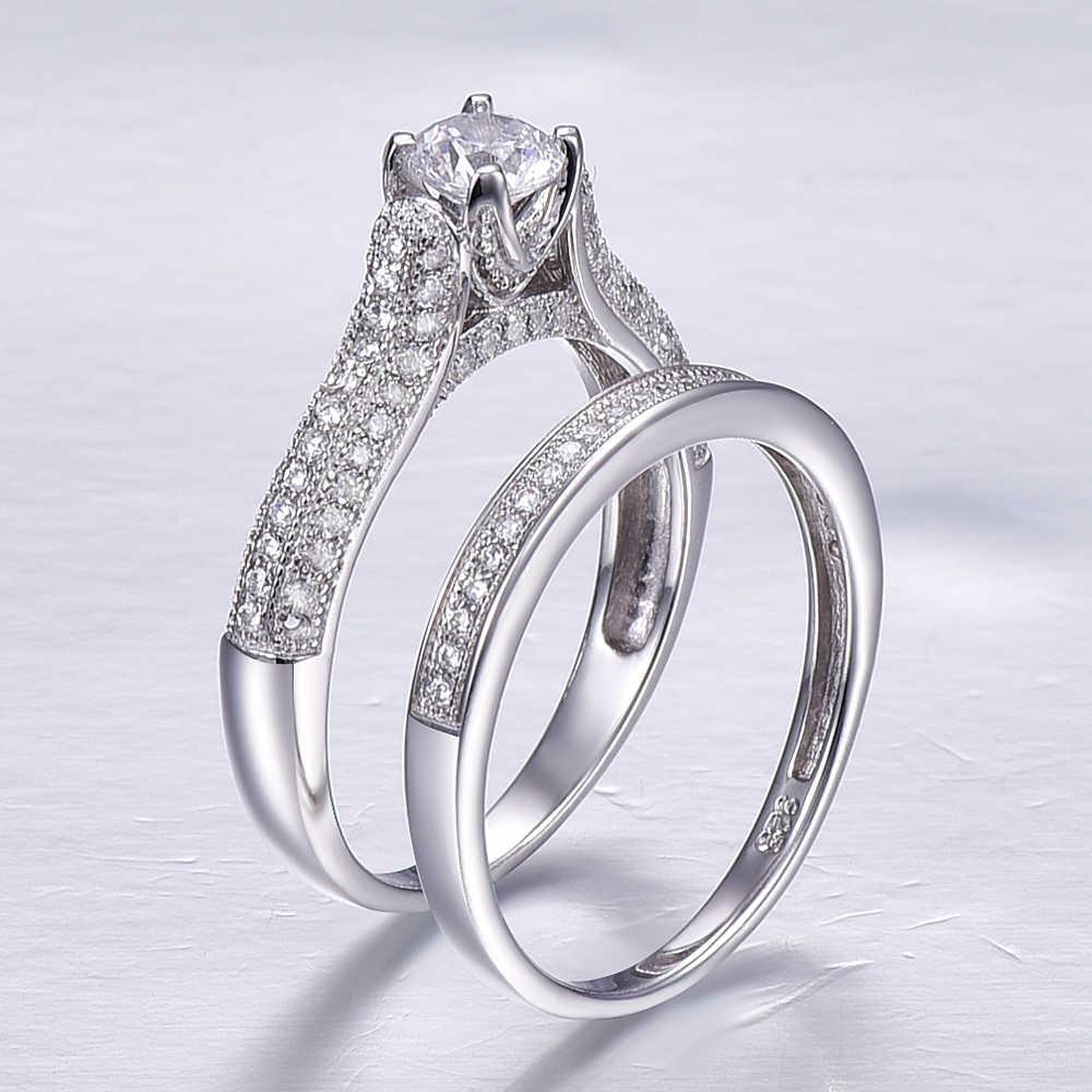 J.C kochanka para biżuteria dla kobiet mężczyzn ślub okrągły biały Topaz Dlicate stałe 925 Sterling srebrny pierścień rozmiar 6 7 8 9