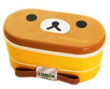Freies Verschiffen 2 Schicht Karikatur Rilakkuma Lunchbox Bento Essen Container Japanischen Stil Kunststoff Lunchbox