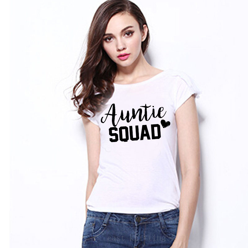 WT0215 New Arrive Letter T-shirt Funny Auntie Squad Women Short Sleeve White T shirt