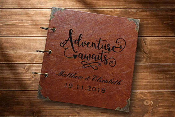 Leather Travel Photo Album /Our Adventure Book/personalized Wedding Guest Book/weddinng photo album