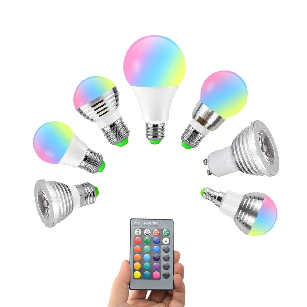 RGB LED Night Lamp Light 10W 7W 5W 3W Spotlight AC220V 110V GU10 E27 E14 Led Bulbs With 24key Remote Controller Home Lighting