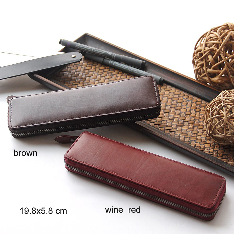 Genuine Leather Zipper Pen Pencil Bag File Document Holder With Large Capacity For Business Stationery School Supplies 1127