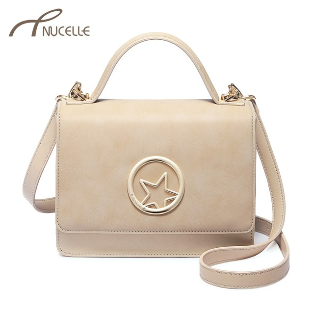 NUCELLE Women s Leather Handbags Ladies Fashion Five Star Messenger Tote  Purse Female Apricot Color Elegant Flap Crossbody Bags 74081c057ac33
