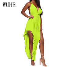 WUHE Summer Sexy Deep V-neck Sleeveless Hollow Out Maxi Dress Elegant Off Shoulder Asymmetrical Personality Women Vestidos