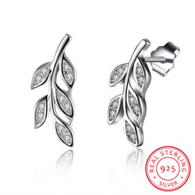 hot deal buy genuine 925 sterling silver jewelry cute mini leafage with zircon stone earring stud fine jewelry for women party jewelry