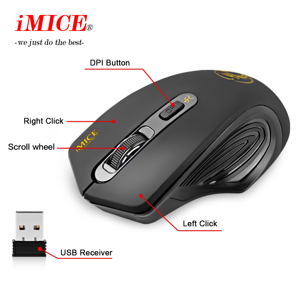 Image 2 - iMICE E 1800 Wireless mouse 2000DPI Adjustable USB 3.0 Receiver Optical Computer Mouse 2.4GHz Ergonomic Mice For Laptop PC Mouse-in Mice from Computer & Office