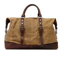 Vintage Men Military Canvas Leather Travel Bag Luggage Duffle Gym Bag Sport Tote bags Large Road Weekend