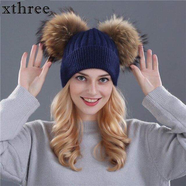 Xthree sombrero de invierno para mujer Lana tejer gorros de piel natural  doble pom poms Skullies 5514d1c695bd
