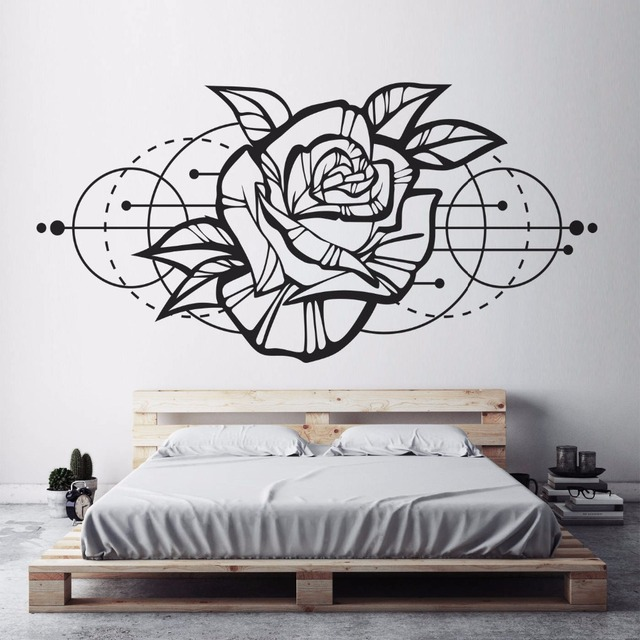 Flower Wall Decal Rose Bedroom Decor Vinyl Abstract Wall Stickers ...