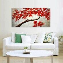 Handgefertigte Abstrakte Schöne Rote Blume Baum Ölgemälde Auf Leinwand Lebendige Blume Bild Wand Kunst Wohnkultur Schönes Geschenk
