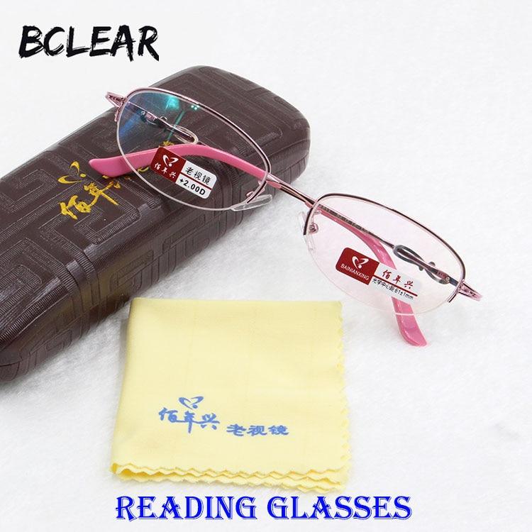 BCLEAR Nouvelle alliage rose moitié jante femmes lunettes de lecture de  mode en métal lunettes de lecture lady haute qualité plus populaire + 1.00  ~ + 4.00 d50d08561aa1