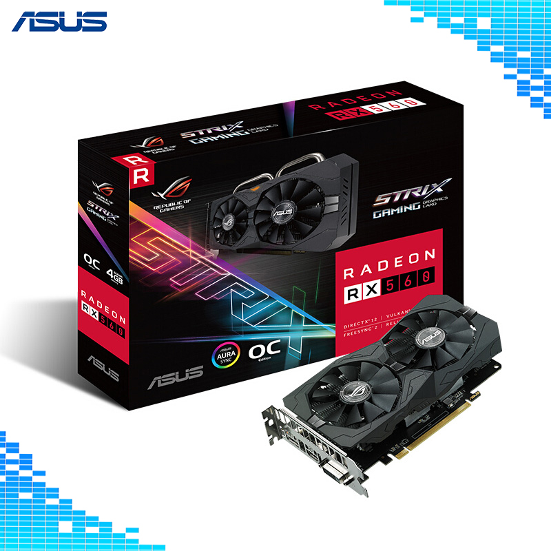 Asus ROG-STRIX-RX560-O4G-EVO-GAMING Graphics Cards 128Bit GDDR5 PCI Express 3.0 16X AMD Radeon RX 560 4G game Card видеокарта asus radeon rx 560 rog strix rx560 o4g gaming pci e 4096mb gddr5 128 bit retail