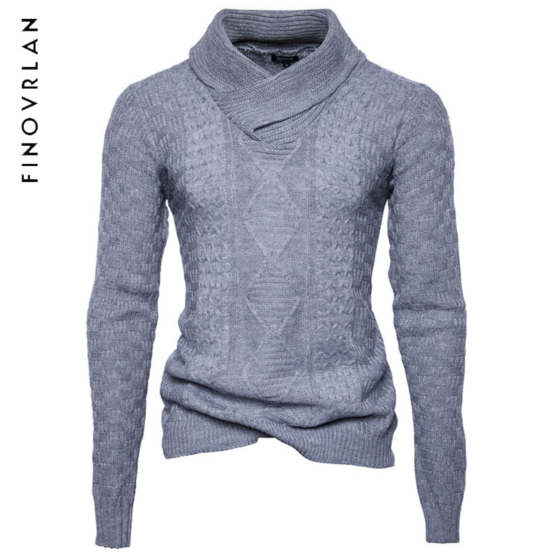2018 New Winter MenS Sweater MenS Turtleneck Solid Color Casual Sweater Mens Slim Fit Br ...