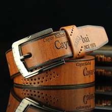 New Men's Belt Pin Buckle Letters Brown Jeans Belt Casual Fashion Antique Retro Hollow Good quality Male Burst Models Belt