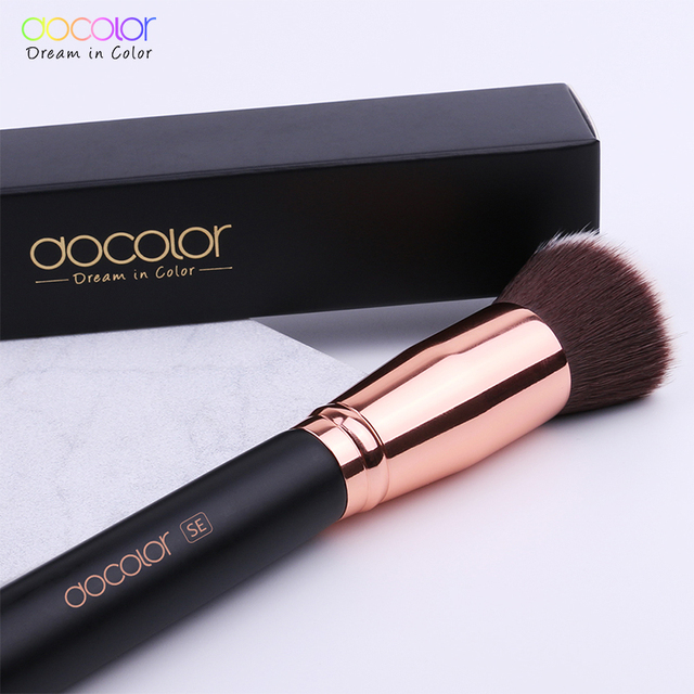 Docolor 1PC Flat Foundation Brush Flat Top Buffing Kabuki Brush Face Makeup Brush Powder Foundation Blush Bronzer Cosmetics Tool 4
