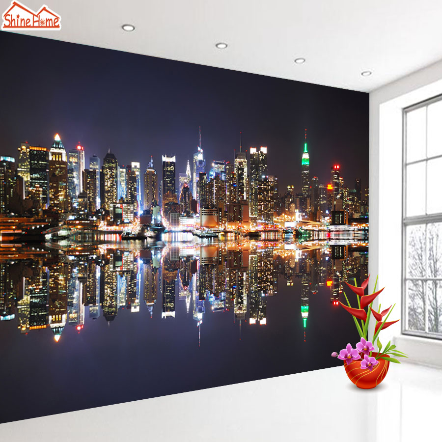 ShineHome-Black and White Night City Building 3d Wallpaper Wallpapers Photo Walls Murals for 3 d Living Room Roll Wall Paper shinehome lamp bulb in water art 3d wallpaper wallpapers photo walls murals for 3 d living room still life home roll wall paper