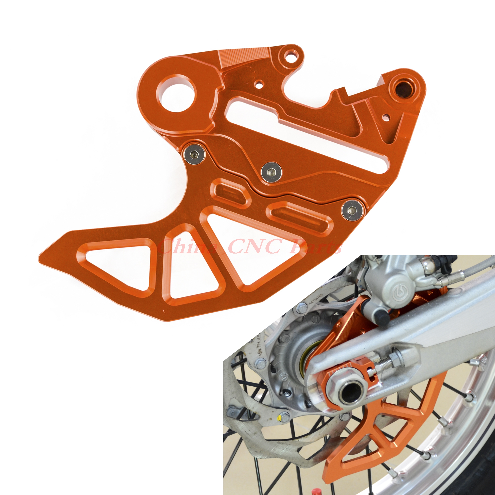 nicecnc brake caliper support with brake disc guard for ktm 125 200 250 300 390 450