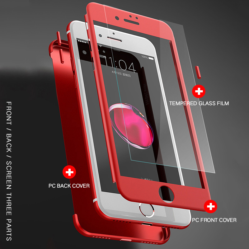 360 Degree Full Body Cover Iphone 6 6S 7 8 Plus Phone Cases For Iphone 7 5 5S SE Cover Shell Tempered Glass