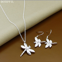 Promotion 925 Silver Cute Jewelry Sets Necklace Earrings Dragonfly 18inch Necklace Earrings For Women