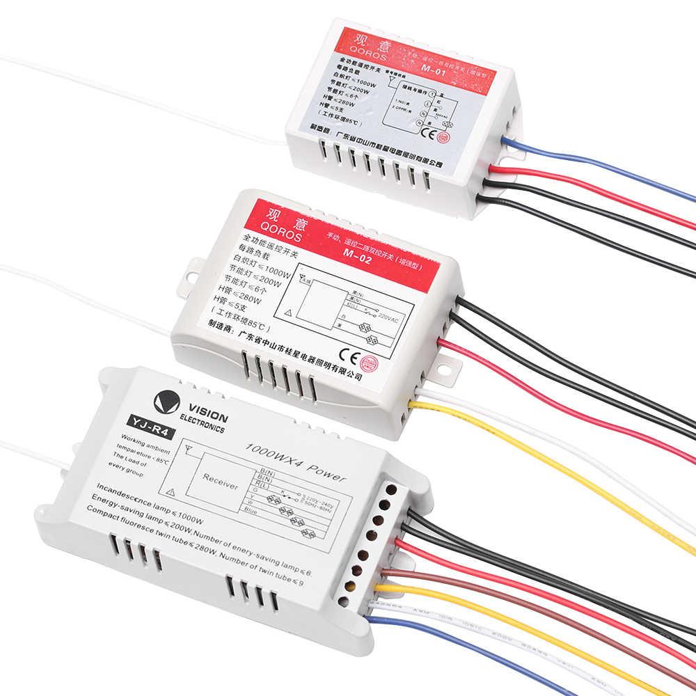 1 PC 1/2/3/4 voies marche/arrêt 220 V lampe lumière numérique sans fil récepteur lampe lumière RF mur télécommande interrupteur UP