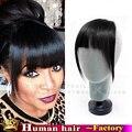Новый продажа 100% HumanHair клип челка челка бразильский натуральных волос черный 1b прямо Реми Клип В Аккуратные Тупые Удары Волос расширения