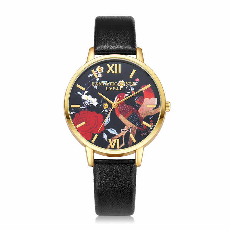 Brand Fashion Women Watches Leather Strap Black Quartz Watch Bird Dress T-shirts Casual Crystal Sport Wristwatch 3L45