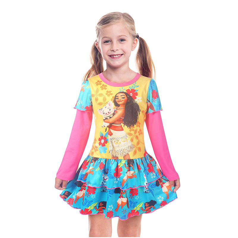 New Christmas Moana Princess Dress Baby Girls Dresses Children Pearl Party Halloween Costume Kid Girl Vintage Toddler tsum dress