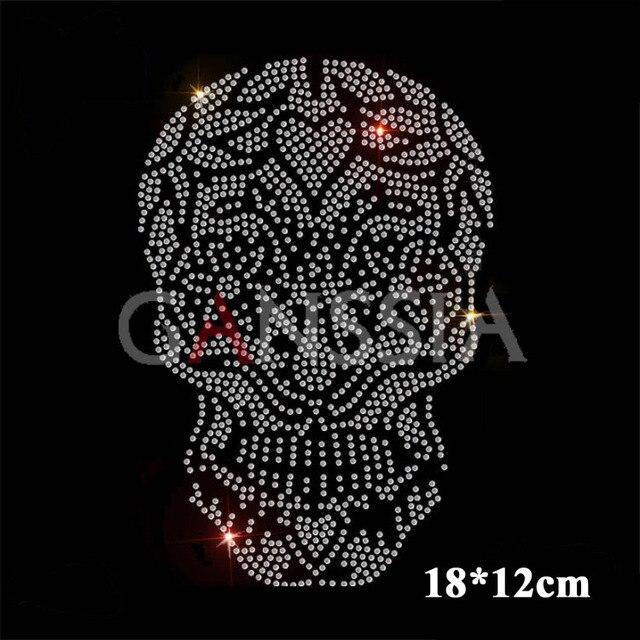 6pc lot Flower pattern with skull hotfix motif rhinestone Heat transfer  rhinestone for garment DIY 60837299804f