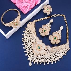Image 5 - Missvikki Luxe Ontwerp Chic Grote Bloemen Ketting Armband Ring Oorbellen Sieraden Set Merk Sieraden Voor Vrouwen Wedding Prom Party