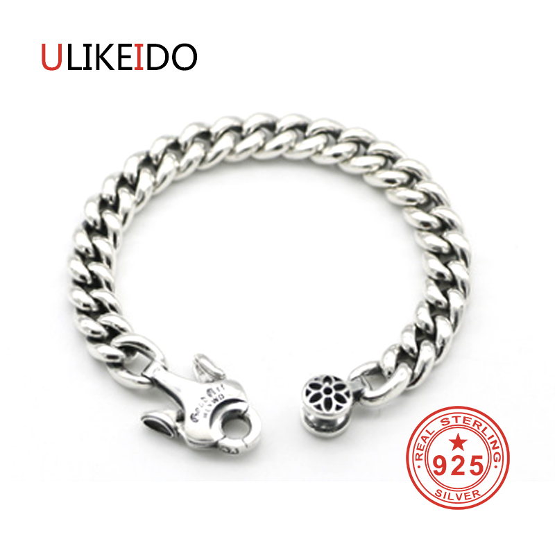 Pure Sterling Silver Bracelets Men Fashion Punk Hand Chain For Women Thai
