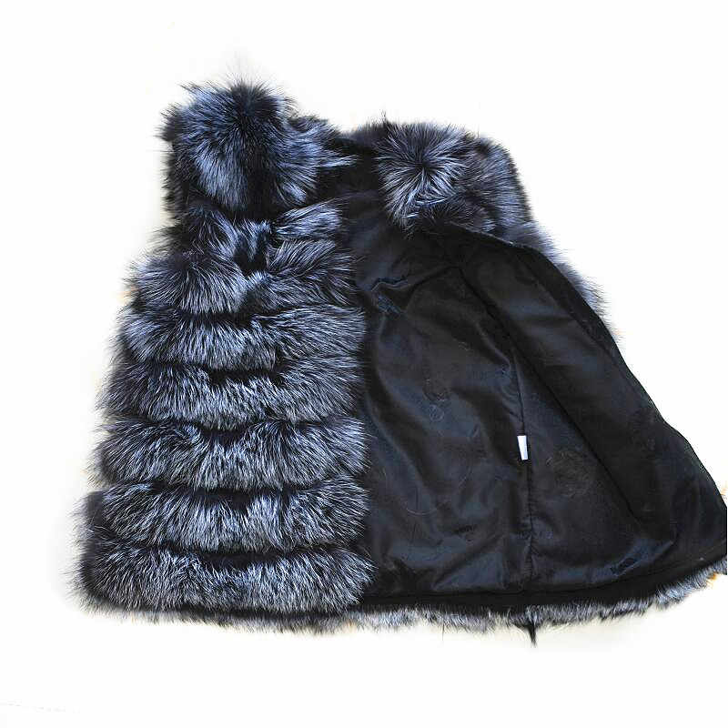 2020 kürk hayvan cilt doğal tilki gümüş tilki bayanlar yelek hayvan kürk moda sıcak kalın kalın güzel