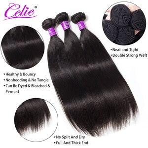 Image 2 - Celie düz saç demetleri brezilyalı saç örgü demeti fırsatlar 3/4 adet Remy saç ekleme insan saç demetleri