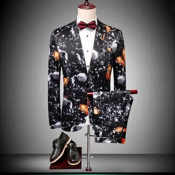 Black Mens Suits With Pants 2019 Famouse Designers EU Latest Coat Design Fashion Pattern Print Groom Wedding Suit 2PCS/Set #908