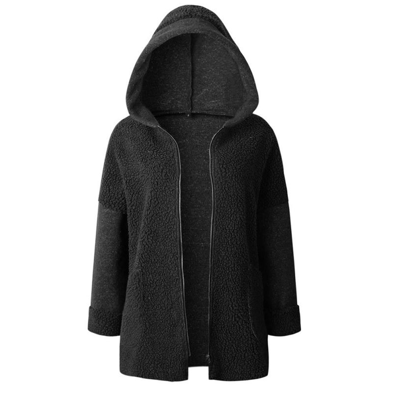 Plus Size Hoodie Women Autumn Winter Coat Side Zipper Ladies Casual   Basic     Jackets   2018 New Clothing Femme Hooded   Jacket