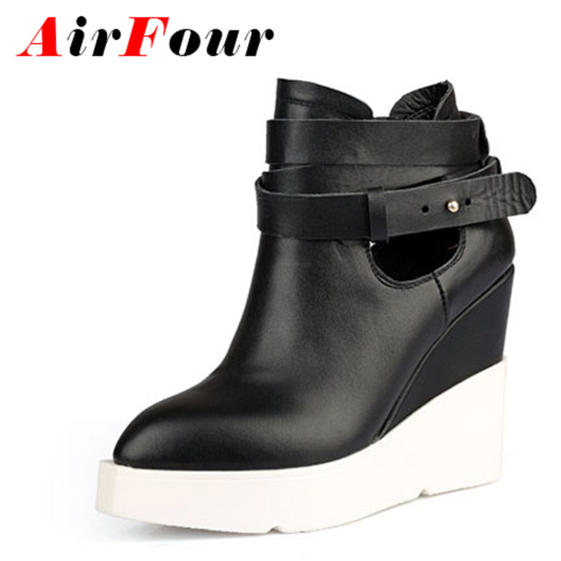 ФОТО Aifour Ankle Boots for Women Spring Autumn and Winter Two Style Pointed Toe Wedges Boots High-Heeled Platform Shoes Woman