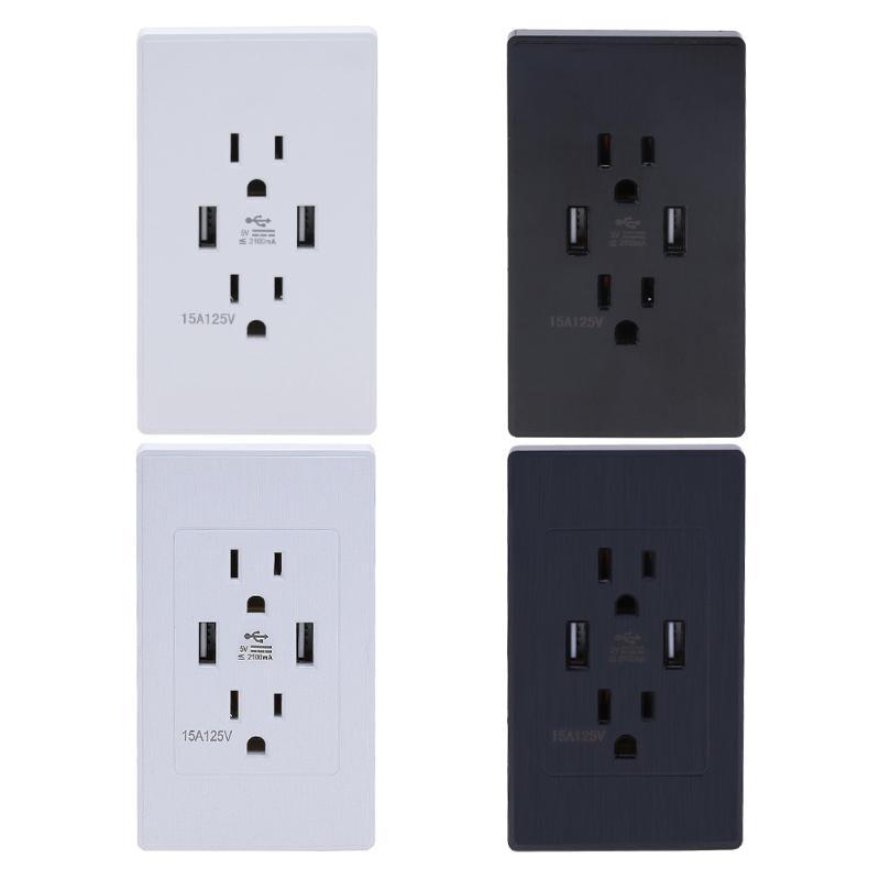 Smart Home Dual 2 USB Port 2.1A Wall Outlet Panel Plug US Socket Electrical Power Outlet Charger Adapter for Cell Phone usb wall socket dual 2 usb port 5v 2 4a wall outlet panel plug socket electrical power outlet charger adapter for cell phone