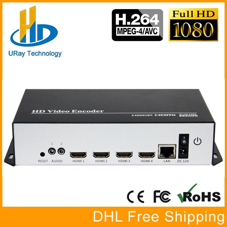Best MPEG4 H.264 4 Channels HDMI To IP Video Encoder IPTV 1080P 1080I Live Broadcast Encoder With HTTP HLS UDP RTP RTMP