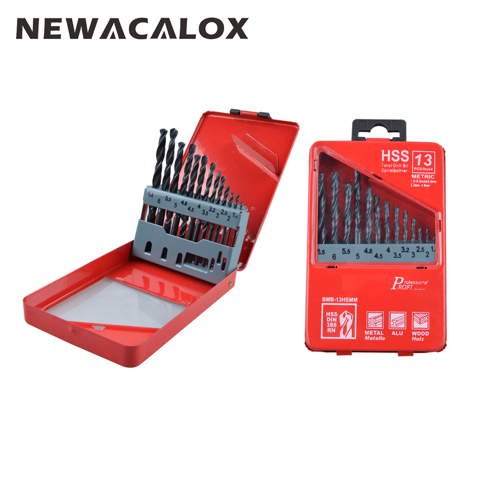 NEWACALOX Tungsten Carbide Twist Drill Bits High Speed Steel HSS Drill Bit Set Round Shank Black Oxide 1.5-6.5mm 13pcs/set цена