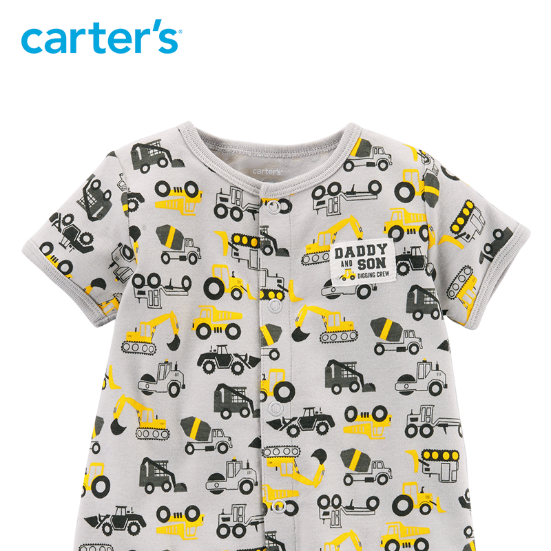 2f4eaa27e896 1pcs sweet Construction print Snap Up Cotton Romper Carter s baby Boy  Summer jumpsuits clothing 118I245-in Rompers from Mother   Kids on  Aliexpress.com ...