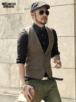 men formal waistcoats dress suit vest slim Three button Woolen vest men casual sleeveless British autumnn suit vest M87